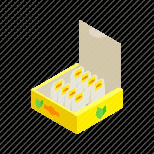 bag, box, isometric, label, pack, tea, teabag icon