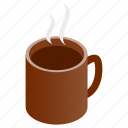 beverage, cofee, cup, drink, hot, isometric, tea icon