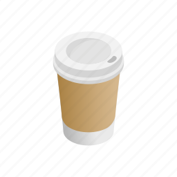 cafe, coffee, cup, disposable, drink, isometric, paper icon