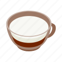 coffee, cream, cup, drink, espresso, isometric, milk icon