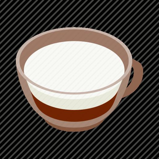 coffee, cream, cup, drink, espresso, isometric, milk icon