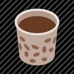 brown, coffee, cup, drink, espresso, isometric, mug icon