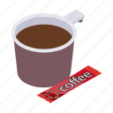 brown, coffee, cup, drink, espresso, isometric, mug icon