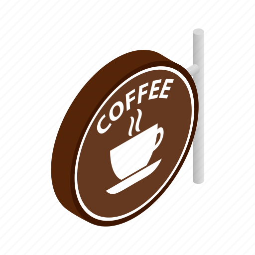 cafe, coffee, cup, drink, espresso, isometric, signboard icon