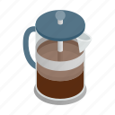 beverage, caffeine, coffee, drink, glass, isometric, pot icon