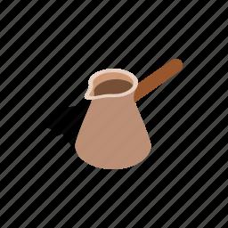 breakfast, cezve, coffee, drink, isometric, pot, turkish icon