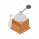 coffee, drink, grinder, hand, isometric, mill, retro icon