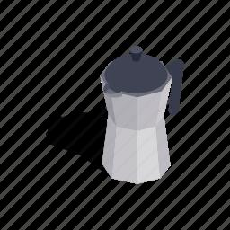beverage, coffee, drink, isometric, metal, pot, steel icon