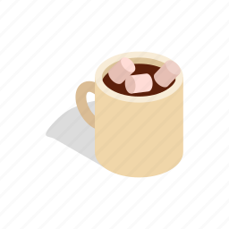 beverage, breakfast, chocolate, coffee, cup, drink, isometric icon
