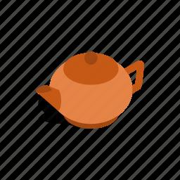 brown, drink, isometric, pot, tea, teapot, utensil icon