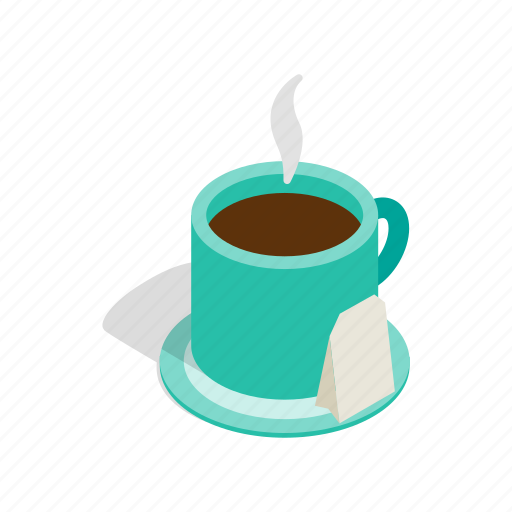 beverage, cup, drink, hot, isometric, tea, teabag icon