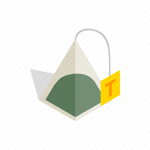 bag, beverage, drink, isometric, label, tea, teabag icon