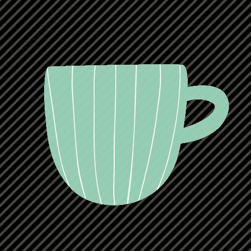 cup, drink, green, hot drink, lines, mug, tea icon