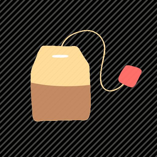 bag, black tea, hot drink, label, tag, tea icon