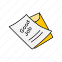 card, educational, good job, grade, report card, score, test result icon