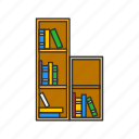 book shelve, books, library, room, school, school library, shelves icon
