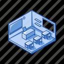 classroom, desk, educational, room, school, school room, table