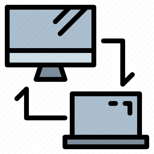 computer, computing, laptop, networking, transfer icon