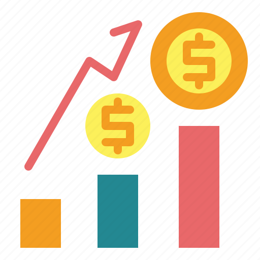 business, coins, finance, graph, growing, money, statistics icon