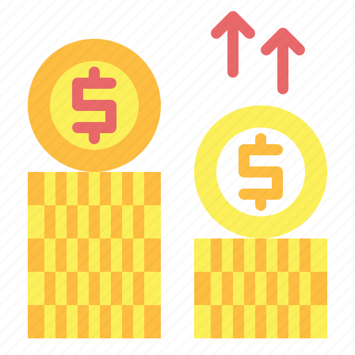 coins, currency, dollar, money, profits icon