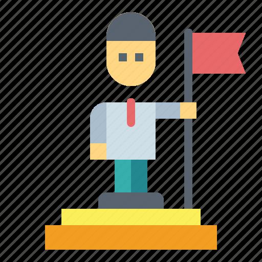 businessman, flag, goal, success icon