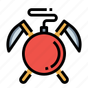 bomb, dead, line, time, work icon