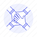 collaborated, collaboration, combine, cooperate, effort, four, hand, teamwork icon