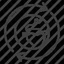 arrow, globe, business, worldwide icon