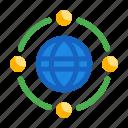 globe, networking, organization icon, relation, teamwork icon