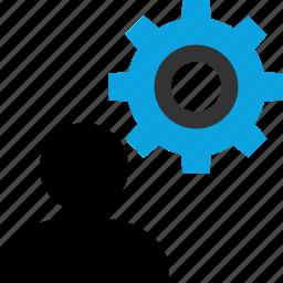gear, option, settings, user icon
