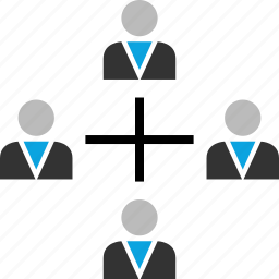 connected, connection, cross, team function icon