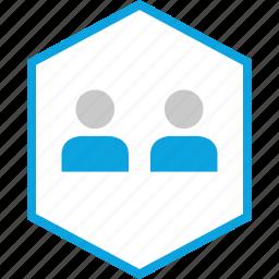 hexagon, people, sleek, team icon