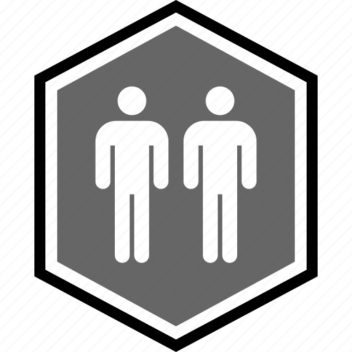 hexagon, people, person, two icon
