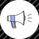 announcement, communication, loudspeaker, megaphone