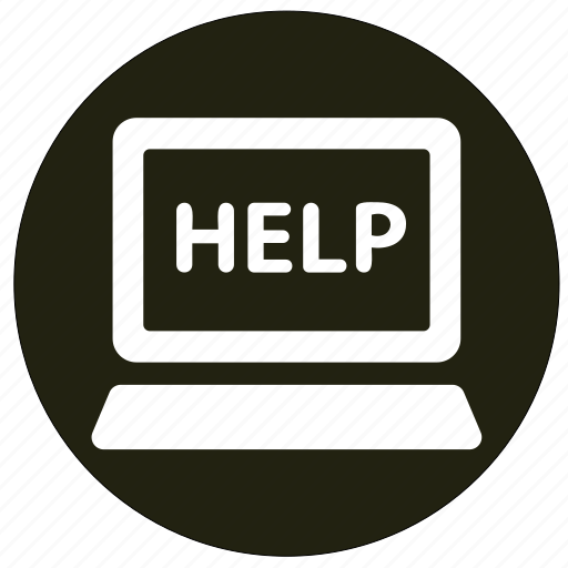 help, information, laptop, notebook icon