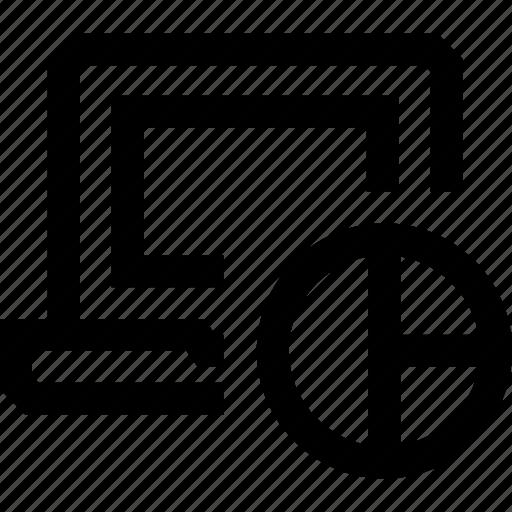 chart, computer, desktop, divide, monitor, percentage, pie icon