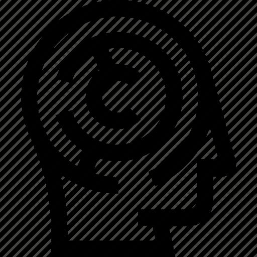 head, idea, maze, problem, solving icon