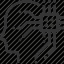 artificial intelligence, brain, computer, processor, robot, smart technology, super human icon
