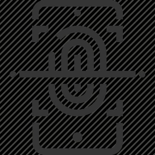 finger print, identification, identity, scanning, sensor, smartphone, thumbnail icon