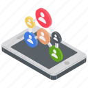 app users, online users, phone users, smartphone app, social media icon