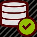 data, database, ok, online, server, storage, tick icon