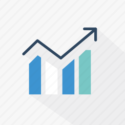 analytics, blue, data, graph, report, statistics, technology icon