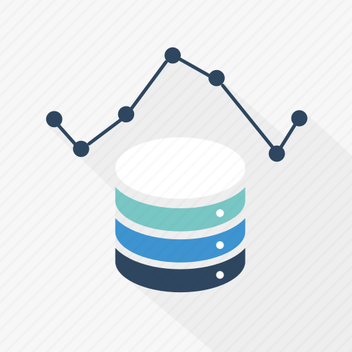 analytics, blue, database, graph, network, storage, technology icon