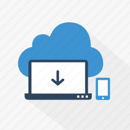 blue, cloud, download, internet, network, online, technology icon