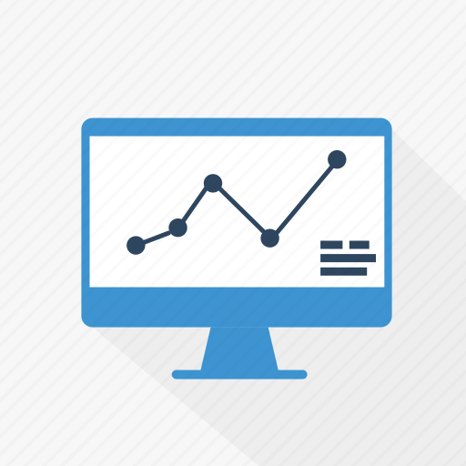 analytics, blue, chart, computer, report, statistics, technology icon