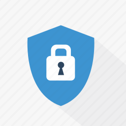 blue, lock, password, protection, security, shield, technology icon