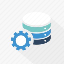 blue, database, gear, server, setting, storage, technology icon