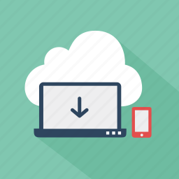 cloud, download, file, green, network, storage, technology icon
