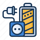 battery, charging, plug, socket icon