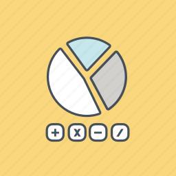 accounting, calculate, diagram, finance, math, pie, seo icon